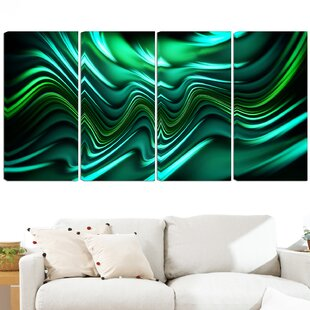 Emerald Energy Green 4 Piece Graphic Art On Wrapped Canvas Set