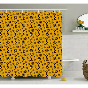 Asylum Silhouette Of An African Women Musical Instrument And Snakes Pattern Shower  Curtain