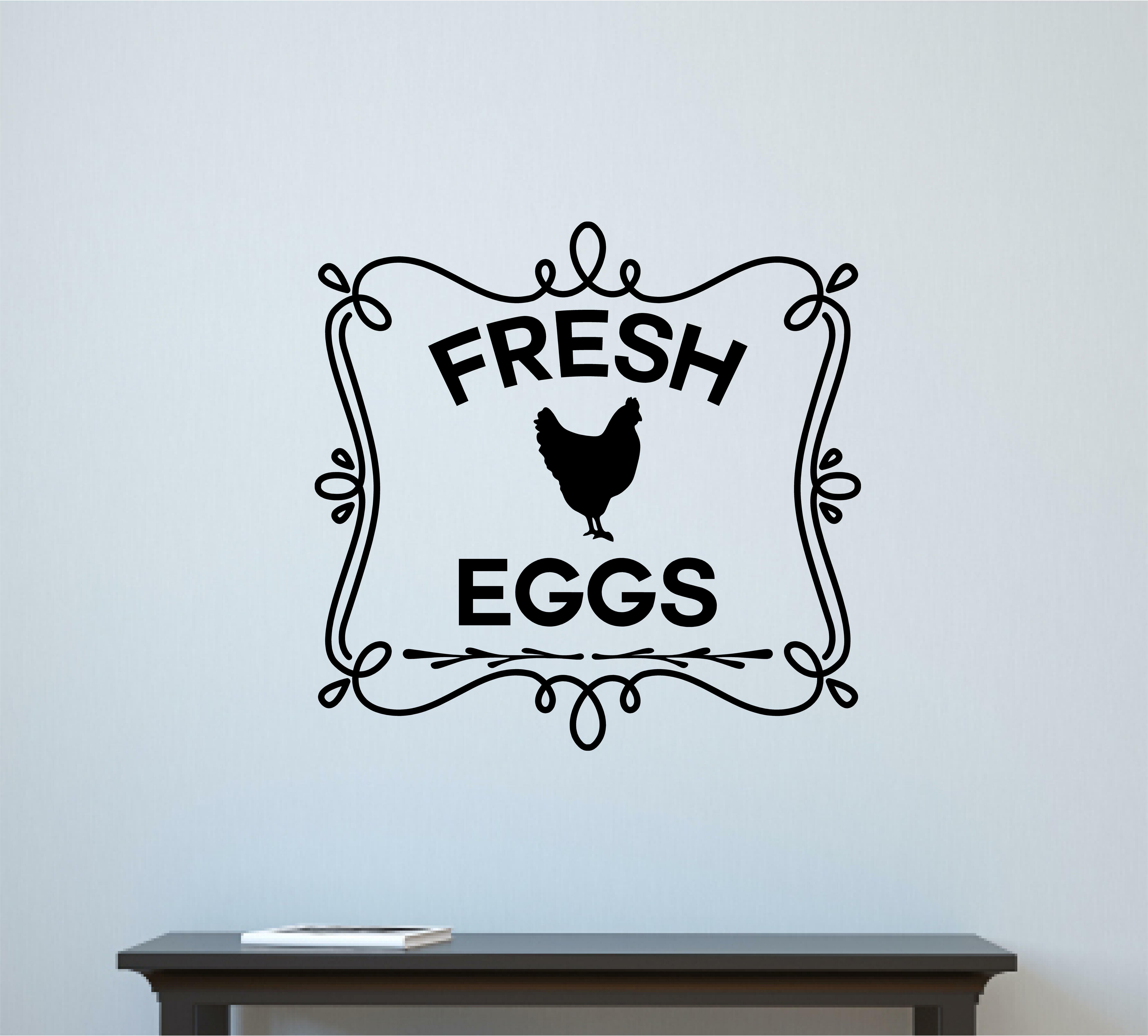 Gracie Oaks Madrigal Fresh Eggs En Coop Farm Country Decor Vinyl Wall Decal Wayfair