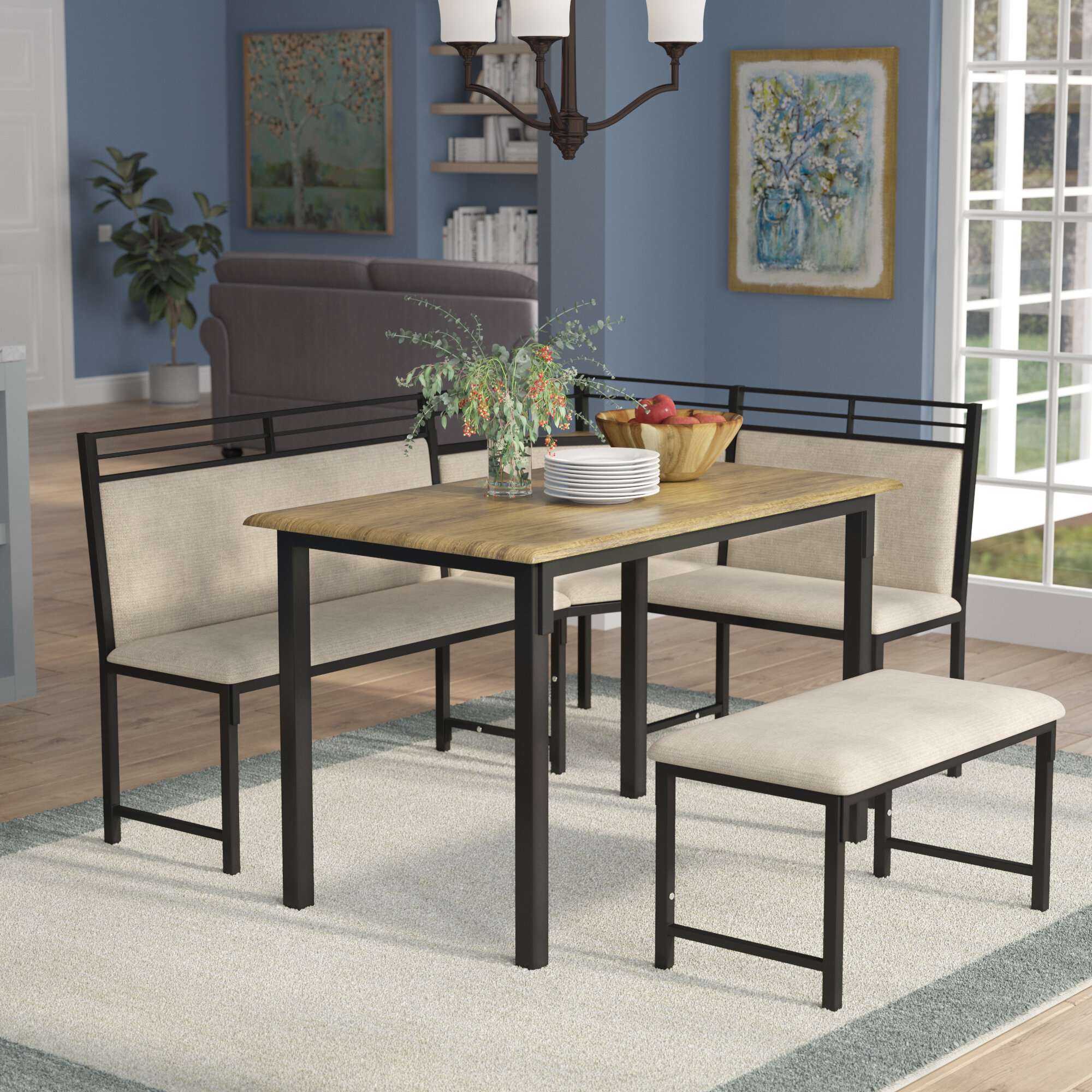 corner furniture piece. Red Barrel Studio Moonachie Corner 3 Piece Dining Set \u0026 Reviews | Wayfair Furniture