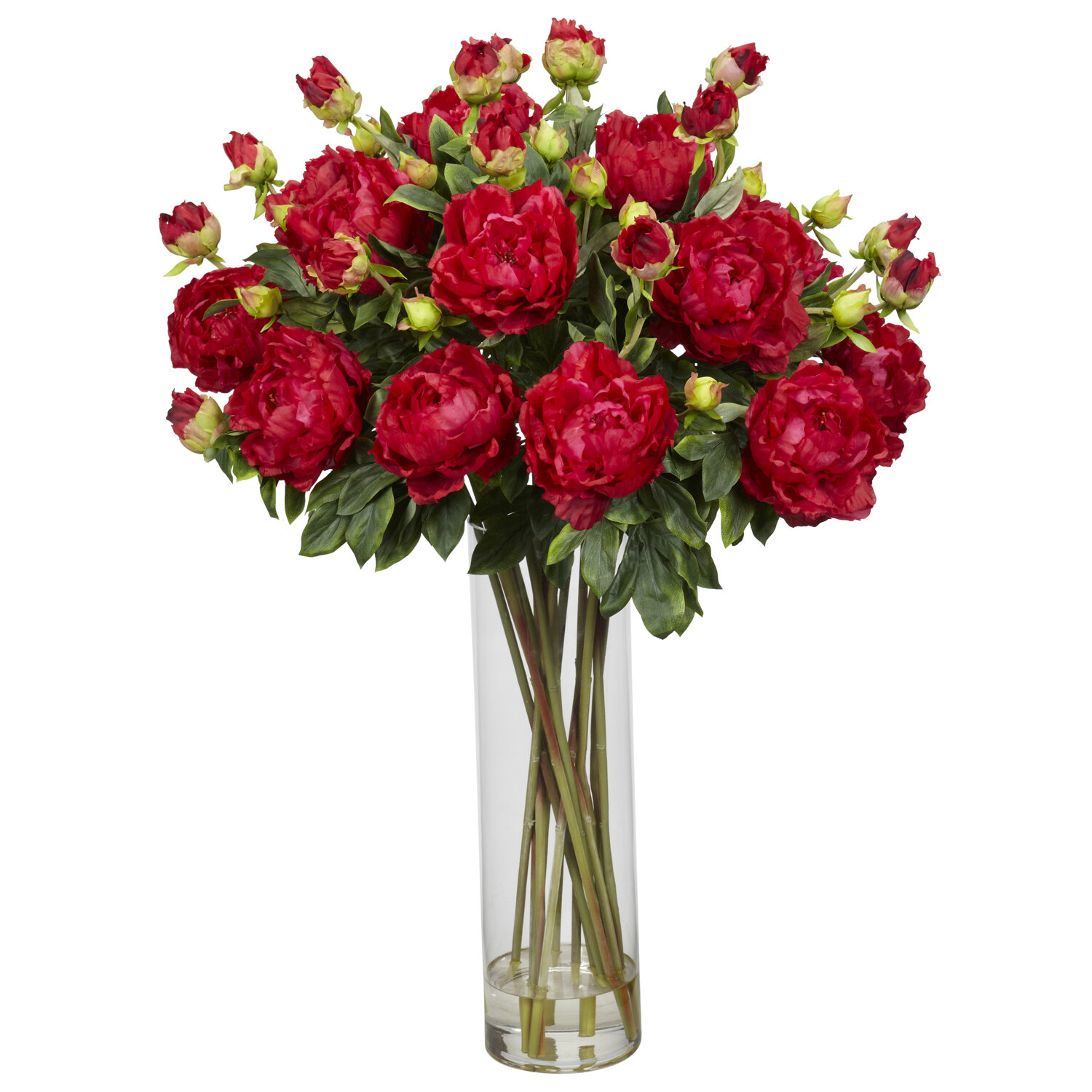 Nearly Natural Giant Peony Silk Flower Arrangement in Red   Wayfair