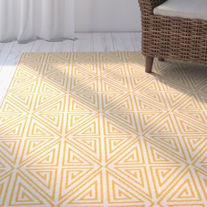 Halliday Yellow/White Outdoor Area Rug