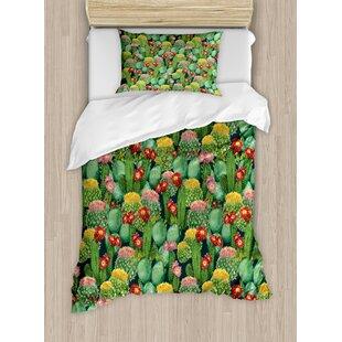 nature garden flowers cactus texas desert botanic various plants with spikes pattern duvet set - Cactus Bedding
