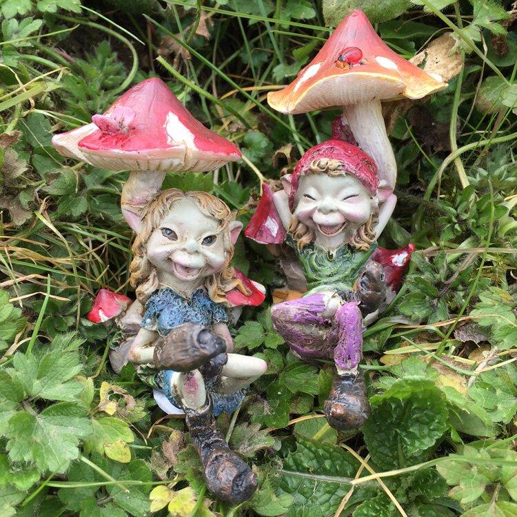 2 Piece Pixie Couple Under Mushrooms Outdoor Decorative Garden Statue Set