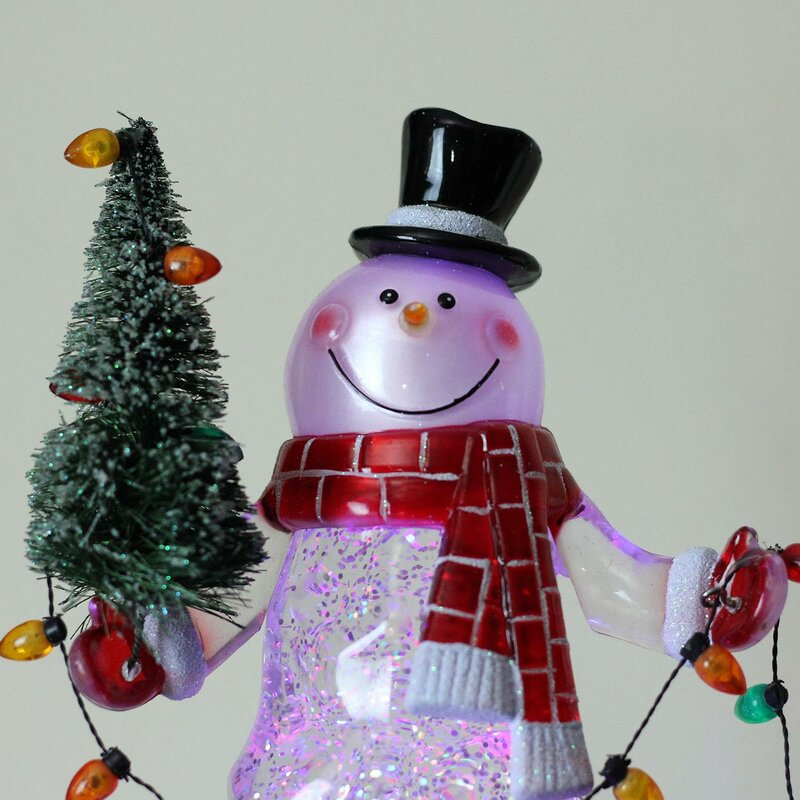 swirling glitter led lighted snowman christmas indoor decoration