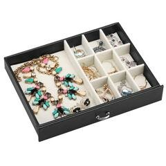 LANGRIA Mini Faux Leather Organizer Jewelry Box with Lock and Mirror