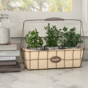 Narrow Herb Woven Wire Basket With Burlap Liner