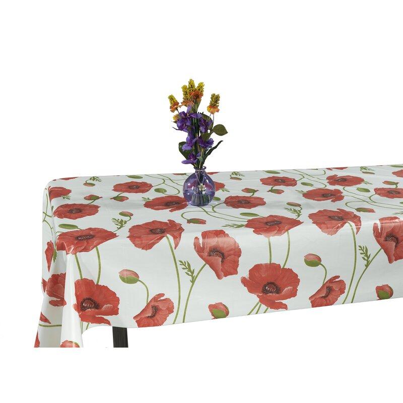 Ottomanson Essential Poppy Flower Design Indoor/Outdoor Tablecloth ...