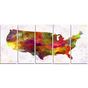 World Map Wall Art - Us map canvas wall art