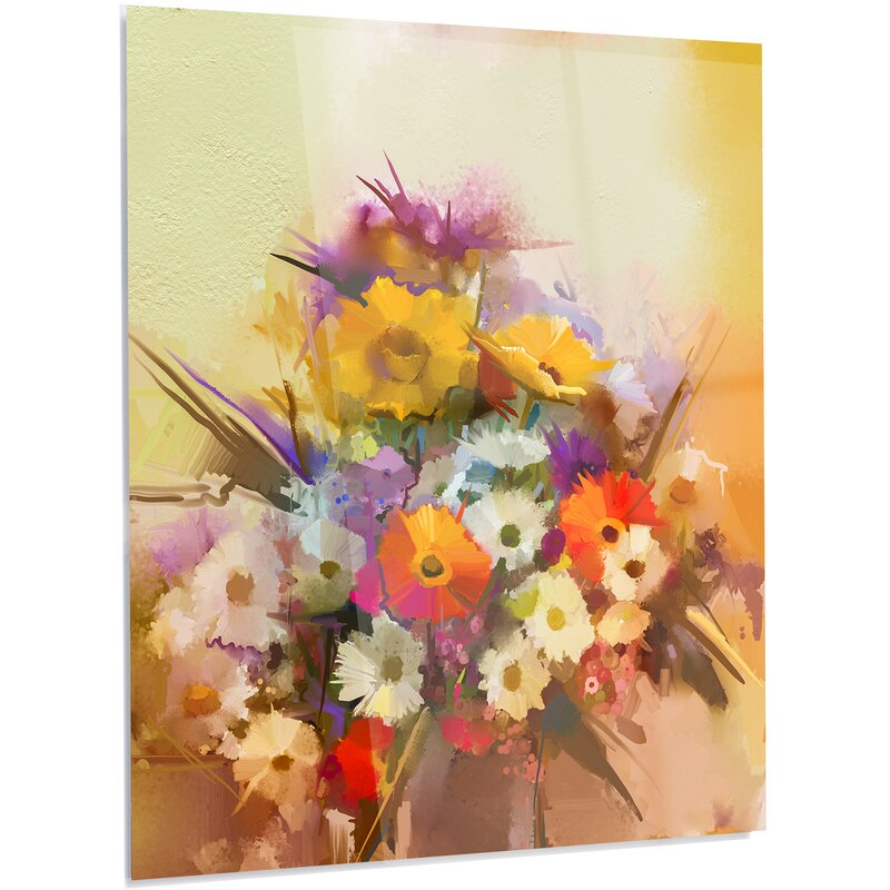 DesignArt \'Hand-painted Bouquet of Flowers\' Painting Print on Metal ...