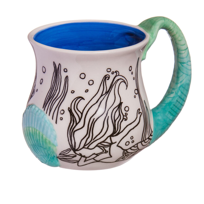 Sculpted Coffee Mug Painted Hand Hames Mermaid XTPuOkZi