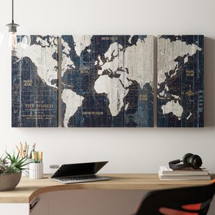 b5152c1000 'Old World Map Blue' Framed Graphic Art Print on Wrapped Canvas (Set of 3)