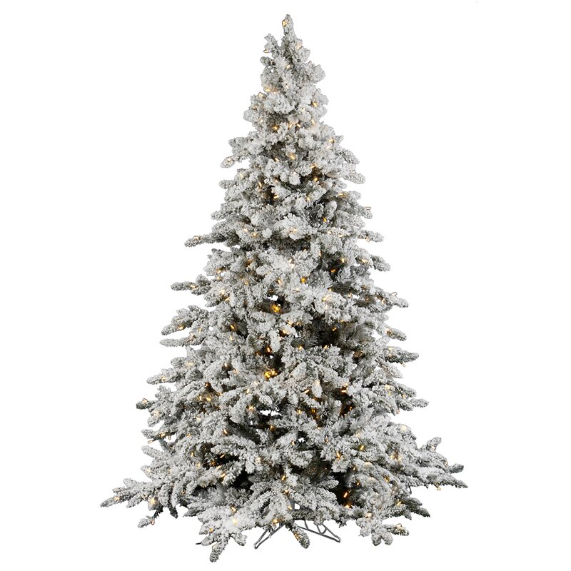 Flocked Utica White Fir Artificial Christmas Tree with Clear White Lights - Vickerman Flocked Utica White Fir Artificial Christmas Tree With