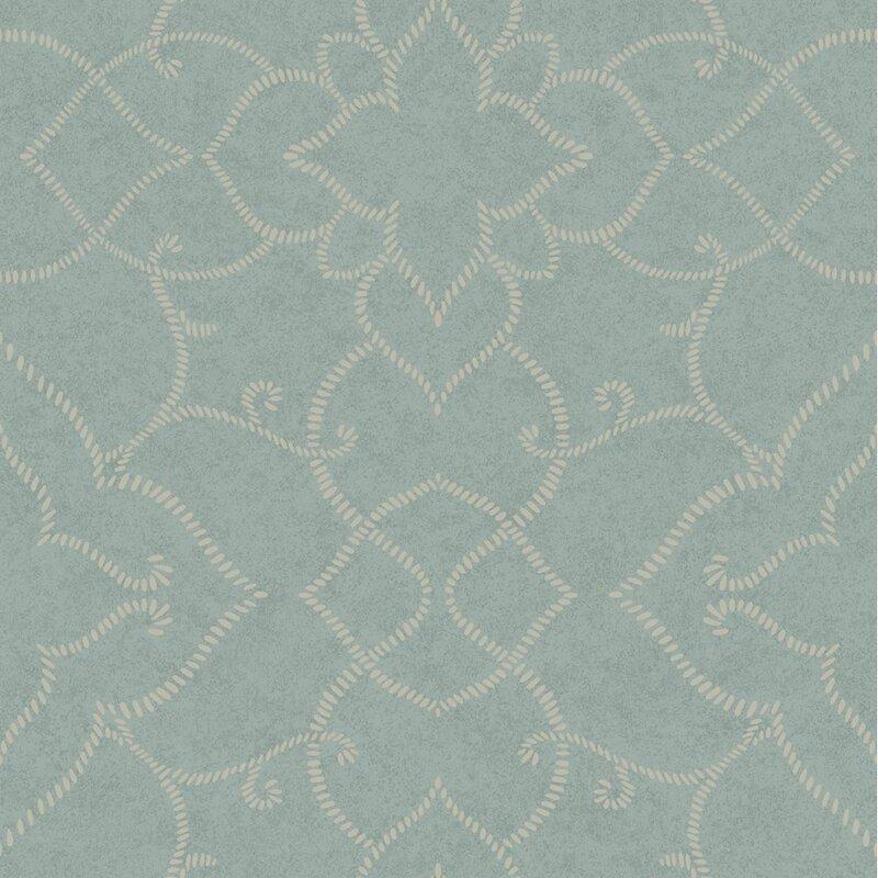 """Jewel Box Starling 33' x 20.5"""" Damask Distressed Wallpaper"""