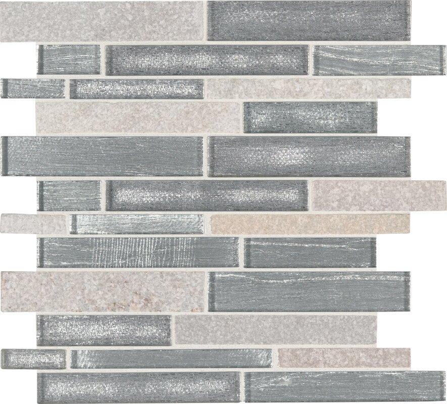 Evita Ice Interlocking Stone Mesh Mounted Gl Mosaic Tile In Gray