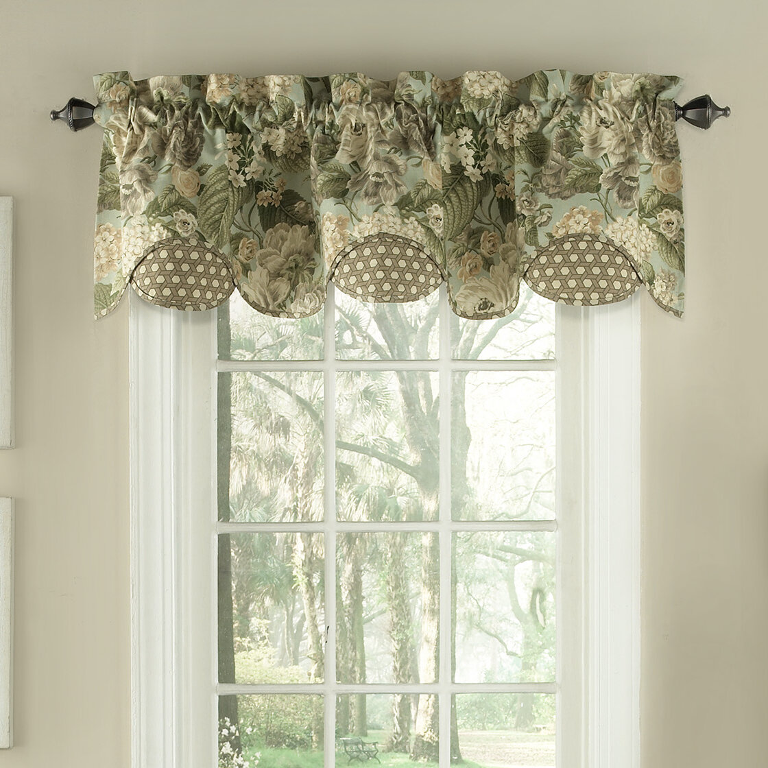 Waverly Garden Glory Scalloped Floral 60 Quot Window Valance