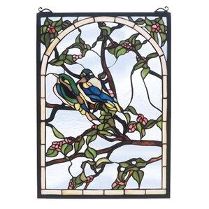 Lovebirds Stained Glass Window