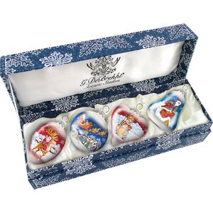 4 Piece Small Classic Christmas Ornament Set