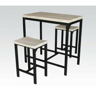 Hussain 3 Piece Counter Height Dining Set