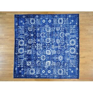 One Of A Kind Bean Tabriz Handwoven Blue Wool Silk Area Rug