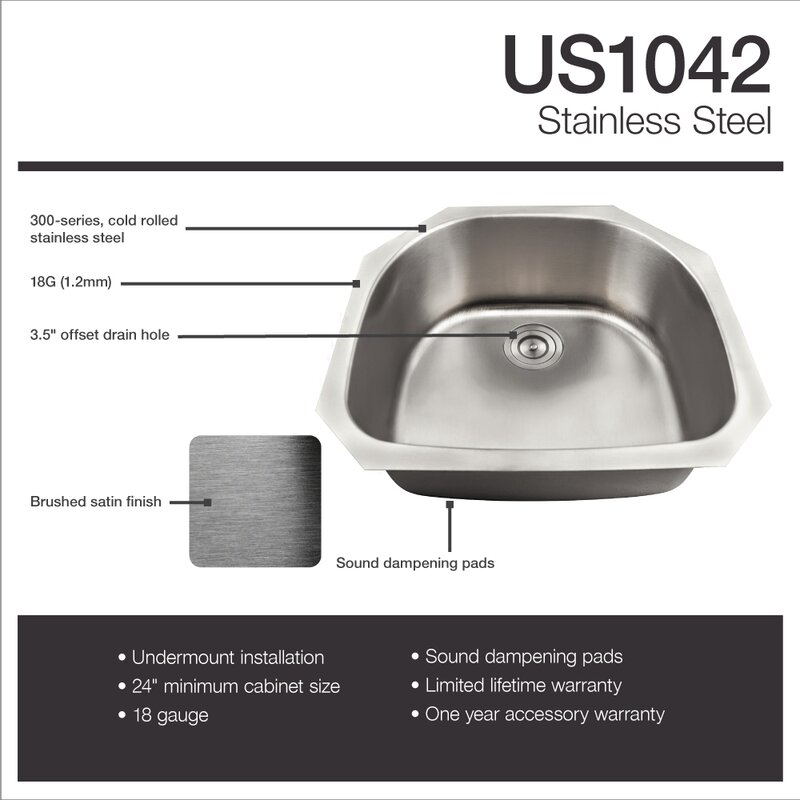 24   x 24   undermount kitchen sink with basket strainer mrdirect 24   x 24   undermount kitchen sink with basket strainer      rh   wayfair com