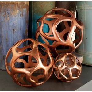 3 Piece Aluminum Decor Ball Figurine Set