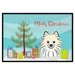 Christmas Tree and Pomeranian Doormat