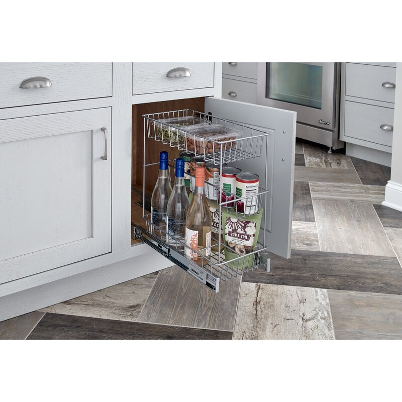 Pull Out Kitchen Cabinet Organizers: ClosetMaid 3 Tier Compact Kitchen Cabinet Pull Out Basket