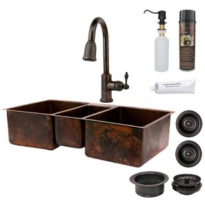 Premier Copper Products Hammered Triple Basin Kitchen Sink with ORB Pull Down Faucet, Drain and Accessories