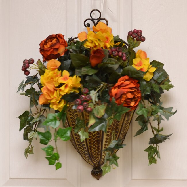 Wall Sconces With Flowers: Floral Home Decor Rose And Hydrangea Silk Floral Wall