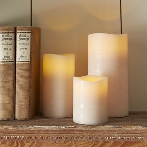 taupe flameless pillar candle - Flameless Candles With Timer