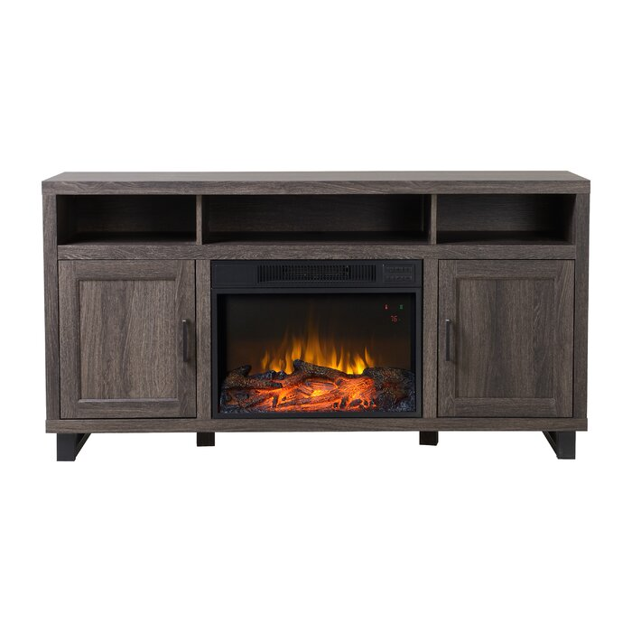 driftwood decorators stands tv natural finish in beige collection brookdale infrared electric fireplace p stand home