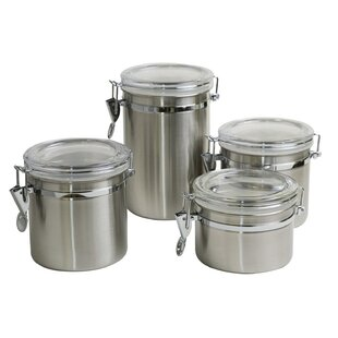 Stainless Steel Clamp 4 Piece Kitchen Canister Set