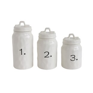 Ceramic Canister Numbers 3 Piece Kitchen Set