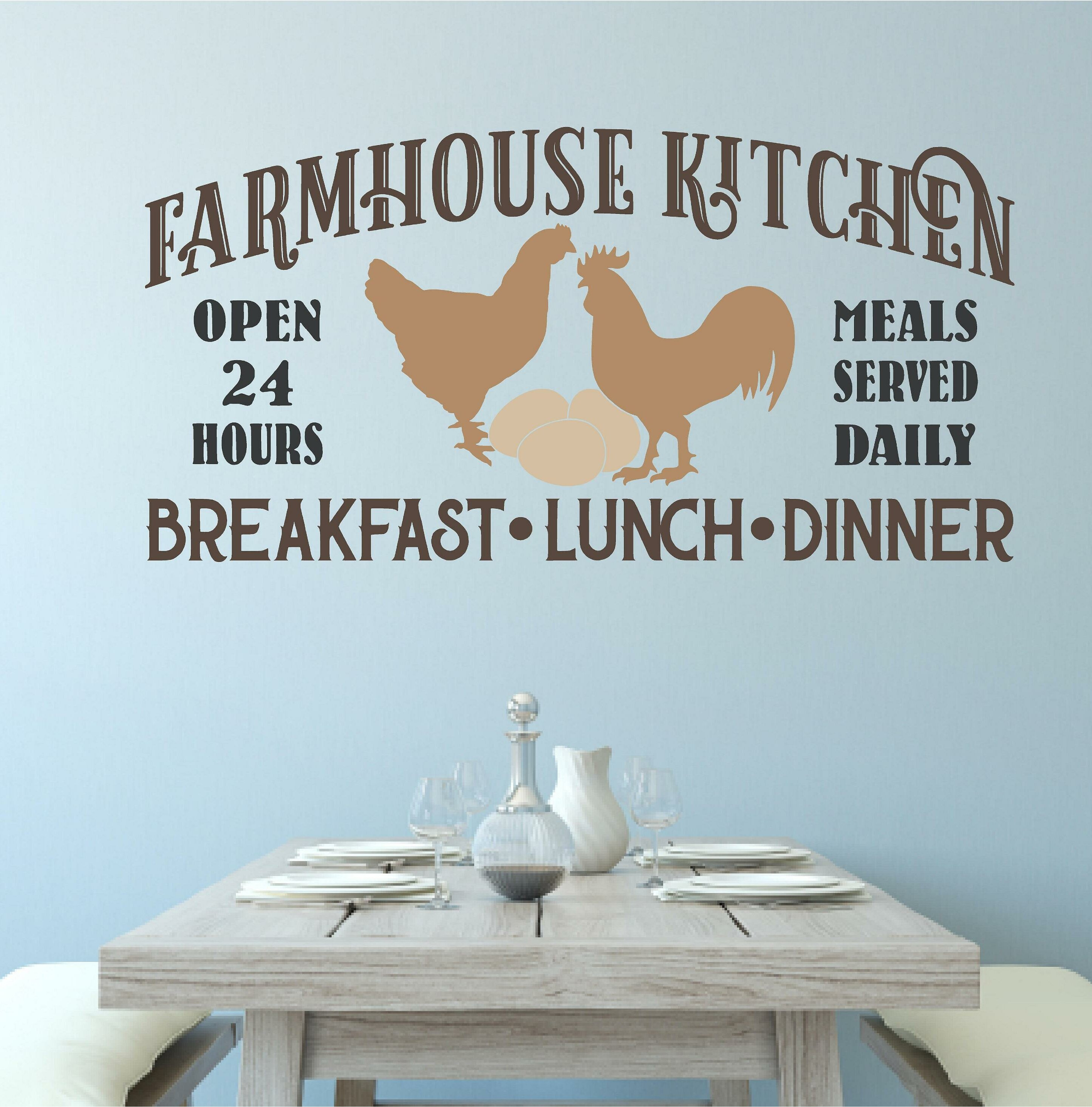 Gracie Oaks Warfel Farmhouse Kitchen Chicken Wall Decal | Wayfair
