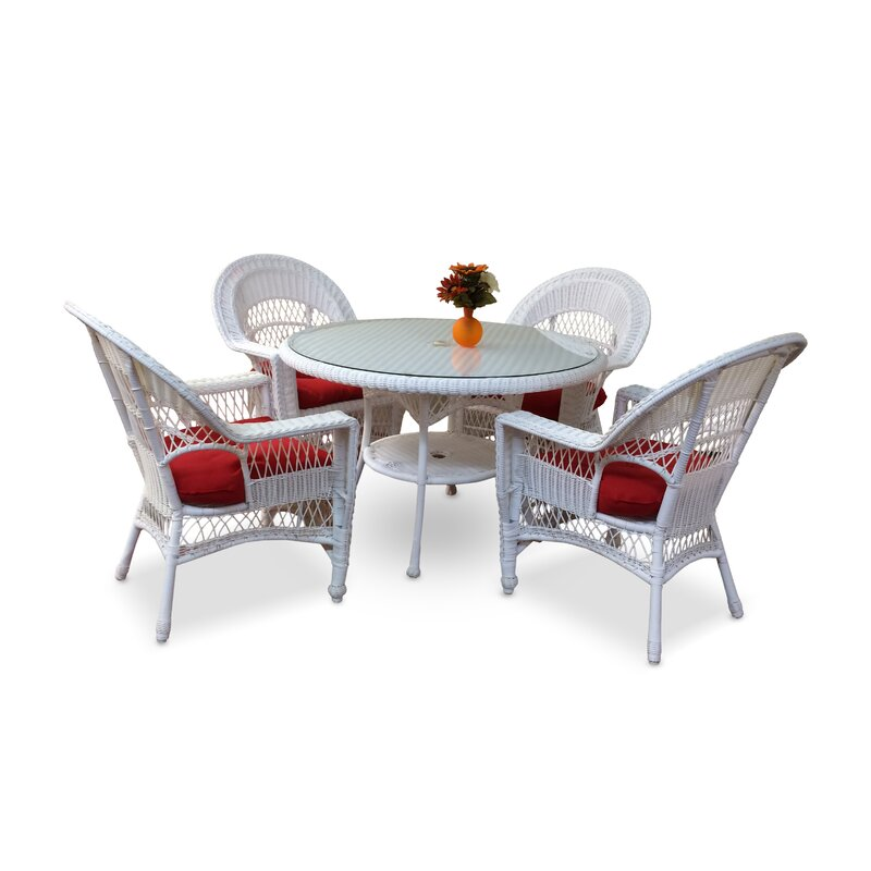 August Grove Camacho 5 Piece Dining Set with Cushions  Color: White