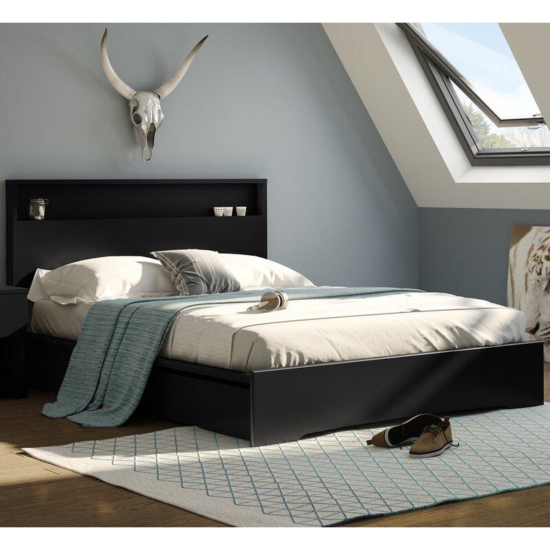 Queen Bed Frame With Storage.Basic Queen Storage Platform Bed