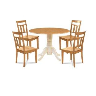 Breccan 5 Piece Drop Leaf Solid Wood Dining Set