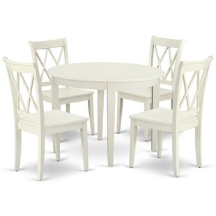 Lacluta 5 Piece Solid Wood Breakfast Nook Dining Set