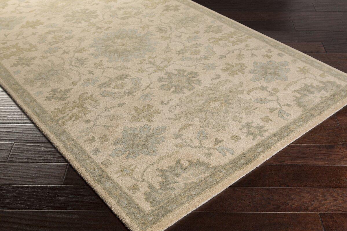 Charlton Home Willard Hand Woven Wool Beige Green Area Rug