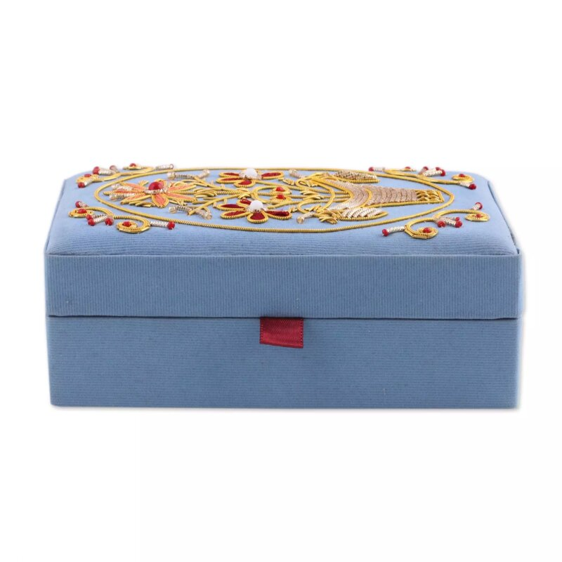 Bloomsbury Market Embroidered Golden Floral Dance Jewelry Box