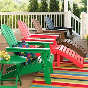 Wooden Adirondack Chair and Footstool Ottoman Set