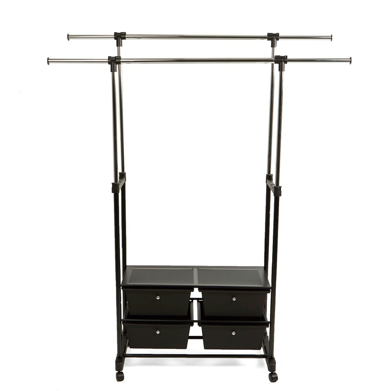 Charmant Double Garment Rack With 4 Bottom Drawers