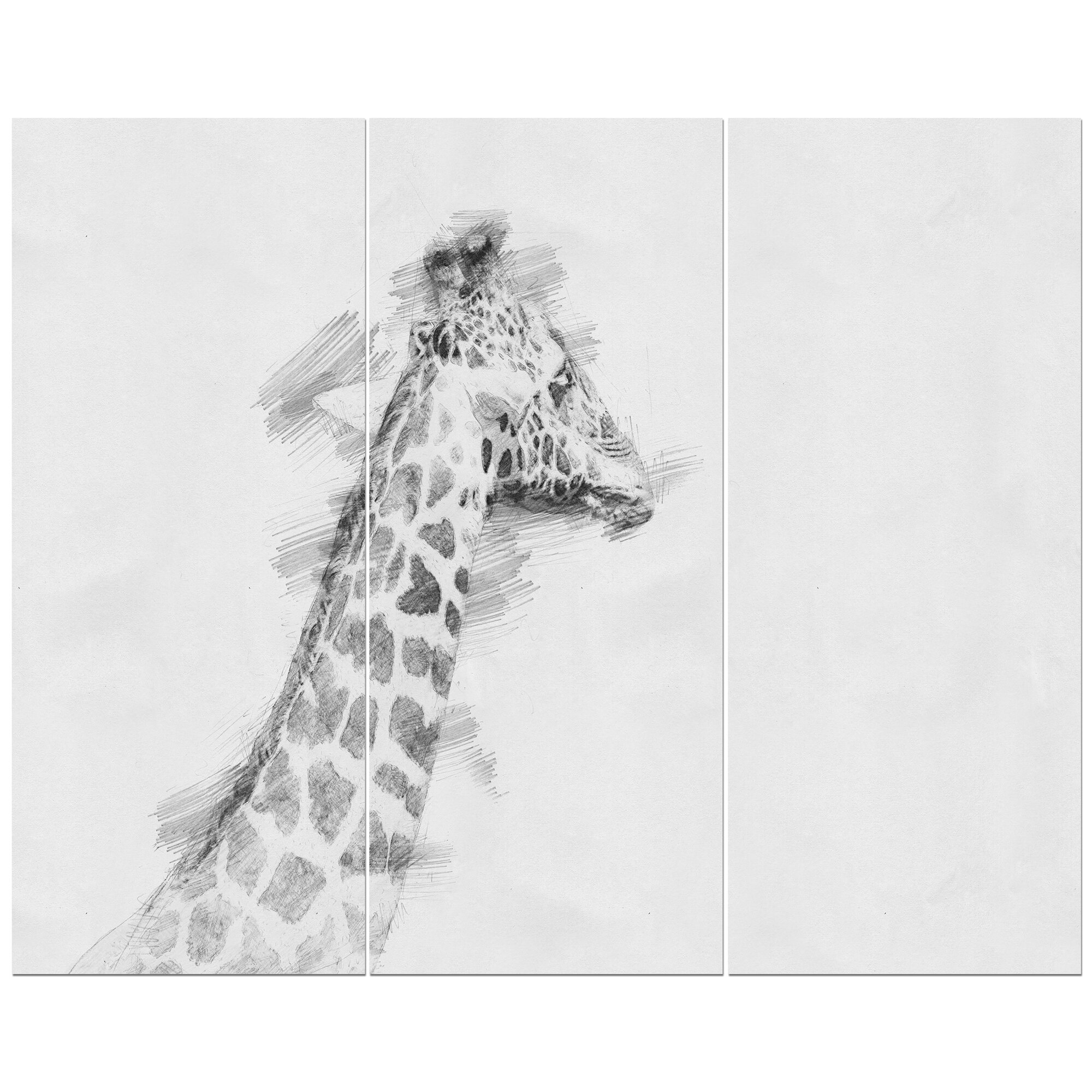 Giraffe in black and white pencil sketch drawing print multi piece image on wrapped canvas