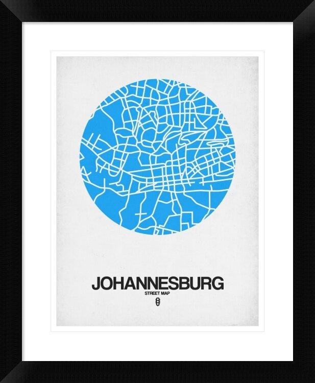 Naxart Johannesburg Street Map Blue Framed Graphic Art