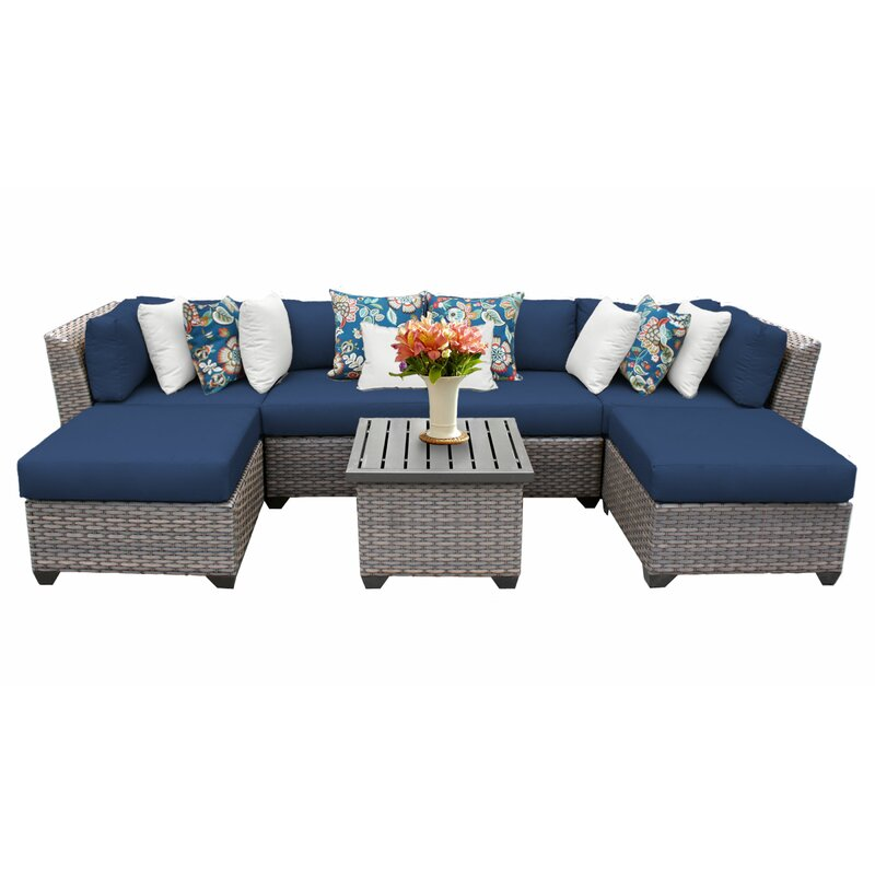 Kenwick 7 Piece Rattan Sectional Seating Group with Cushions ...