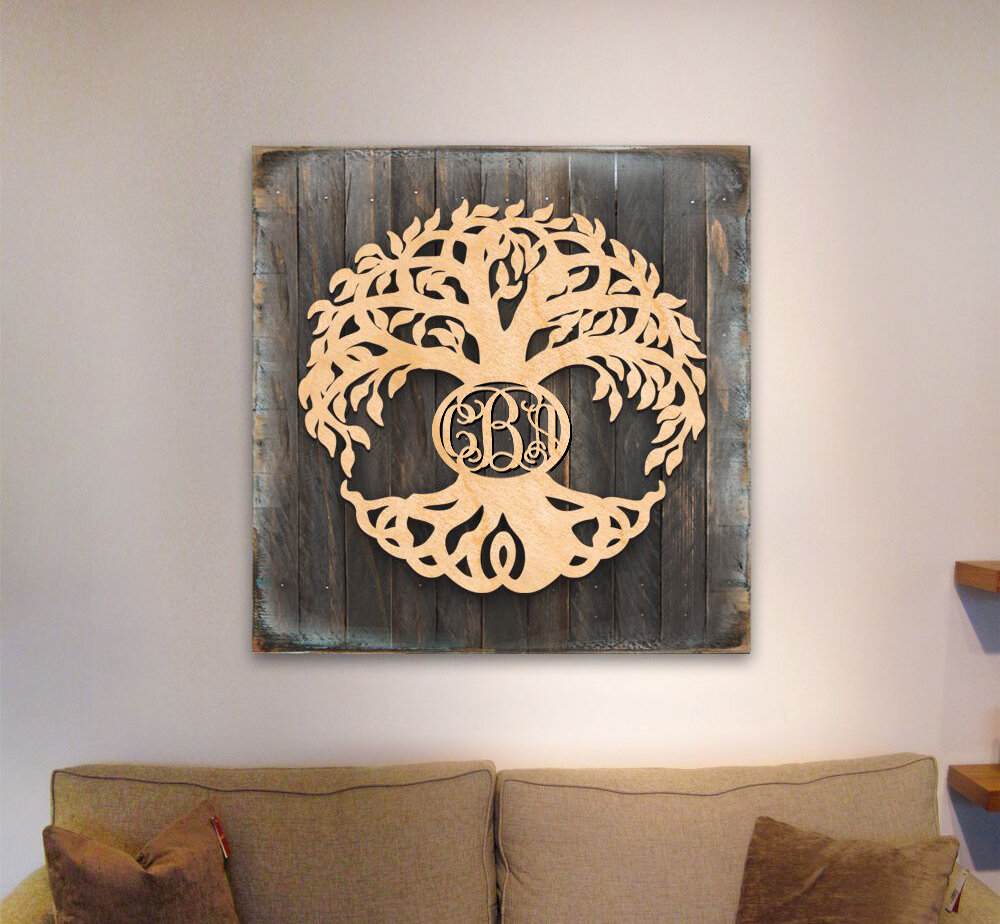 Tree Of Life With Monogram On Wooden Block Wall Decor