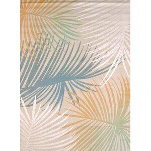 Keyla Palm Leaves Blue Area Rug