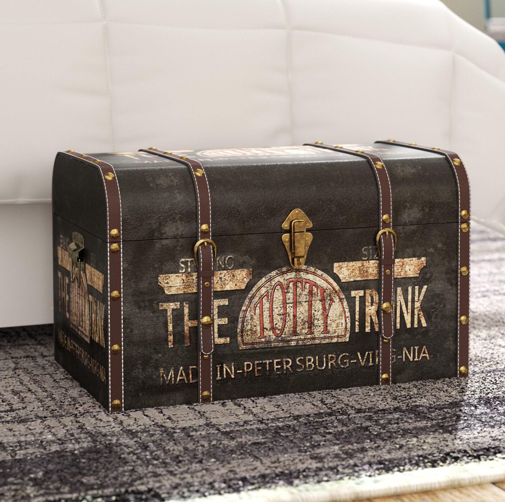 Williston Forge Helina Large Vintage Decorative Home Storage Trunk U0026  Reviews | Wayfair