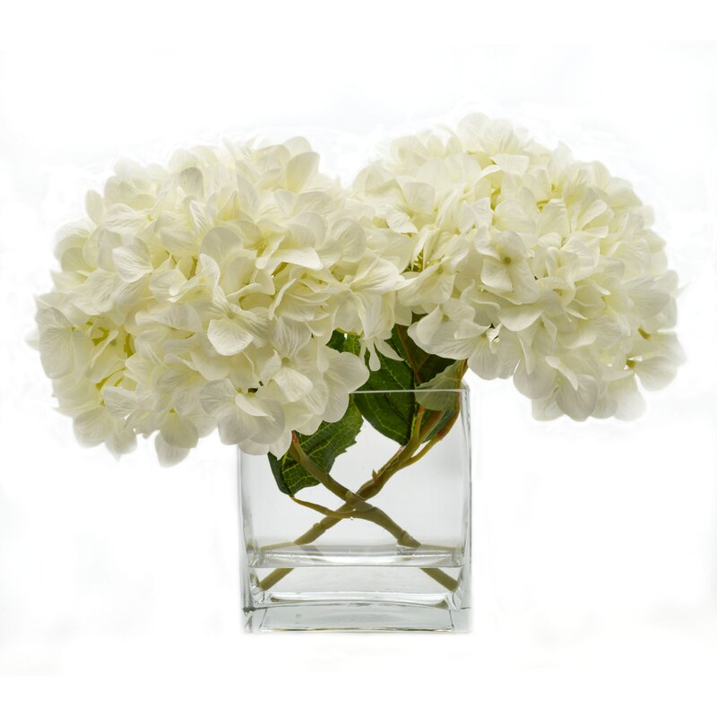 Birch Lane Faux White Hydrangea In Glass Vase Birch Lane
